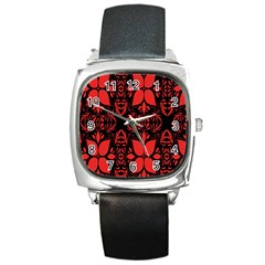 Christmas Red And Black Background Square Metal Watch by Onesevenart