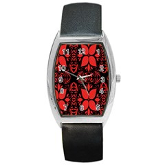 Christmas Red And Black Background Barrel Style Metal Watch by Onesevenart