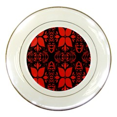 Christmas Red And Black Background Porcelain Plates by Onesevenart