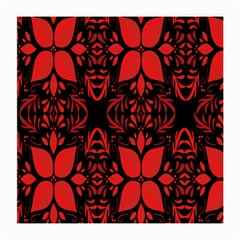 Christmas Red And Black Background Medium Glasses Cloth by Onesevenart