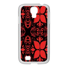 Christmas Red And Black Background Samsung Galaxy S4 I9500/ I9505 Case (white) by Onesevenart