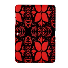 Christmas Red And Black Background Samsung Galaxy Tab 2 (10 1 ) P5100 Hardshell Case  by Onesevenart