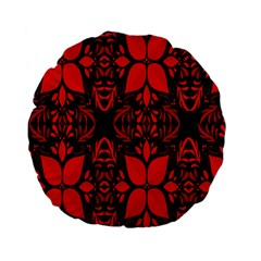Christmas Red And Black Background Standard 15  Premium Flano Round Cushions by Onesevenart