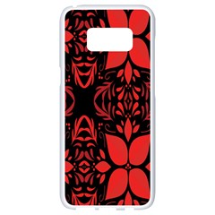 Christmas Red And Black Background Samsung Galaxy S8 White Seamless Case by Onesevenart