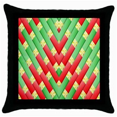 Christmas Geometric 3d Design Throw Pillow Case (black) by Onesevenart