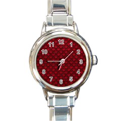 Scales2 Black Marble & Red Leather Round Italian Charm Watch by trendistuff