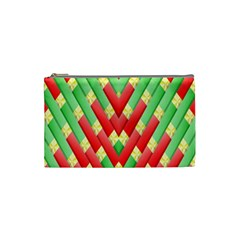 Christmas Geometric 3d Design Cosmetic Bag (small)  by Onesevenart