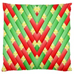 Christmas Geometric 3d Design Large Cushion Case (one Side) by Onesevenart
