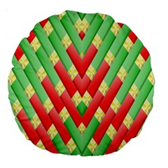 Christmas Geometric 3d Design Large 18  Premium Round Cushions by Onesevenart
