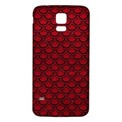 Scales2 Black Marble & Red Leather Samsung Galaxy S5 Back Case (white) by trendistuff