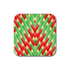 Christmas Geometric 3d Design Rubber Square Coaster (4 Pack)  by Onesevenart