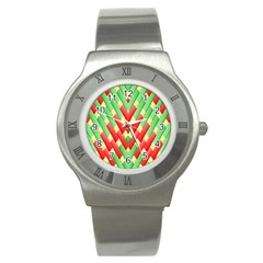 Christmas Geometric 3d Design Stainless Steel Watch by Onesevenart