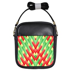Christmas Geometric 3d Design Girls Sling Bags by Onesevenart