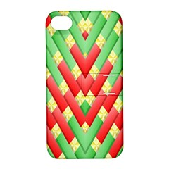Christmas Geometric 3d Design Apple Iphone 4/4s Hardshell Case With Stand by Onesevenart