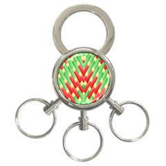 Christmas Geometric 3d Design 3 Ring Key Chains by Onesevenart