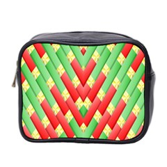 Christmas Geometric 3d Design Mini Toiletries Bag 2 Side by Onesevenart