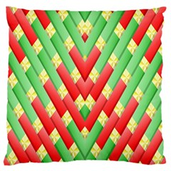 Christmas Geometric 3d Design Large Flano Cushion Case (one Side) by Onesevenart