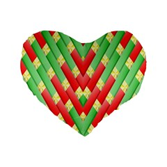 Christmas Geometric 3d Design Standard 16  Premium Flano Heart Shape Cushions by Onesevenart