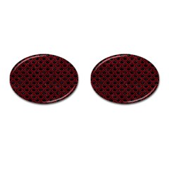 Scales2 Black Marble & Red Leather (r) Cufflinks (oval)
