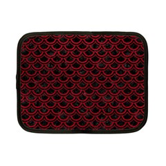 Scales2 Black Marble & Red Leather (r) Netbook Case (small)  by trendistuff