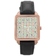 Christmas Decorations Background Rose Gold Leather Watch  by Onesevenart