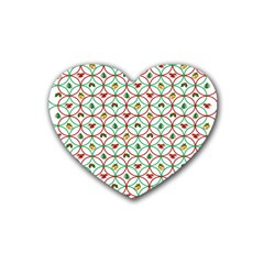 Christmas Decorations Background Rubber Coaster (heart)  by Onesevenart