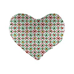 Christmas Decorations Background Standard 16  Premium Heart Shape Cushions by Onesevenart