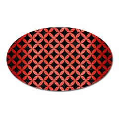 Circles3 Black Marble & Red Brushed Metal (r) Oval Magnet by trendistuff
