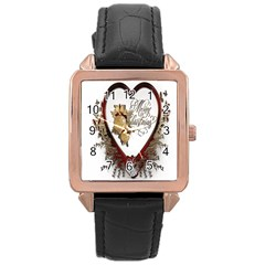 Christmas D¨|cor Decoration Winter Rose Gold Leather Watch  by Onesevenart
