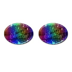Christmas Greeting Card Frame Cufflinks (oval) by Onesevenart