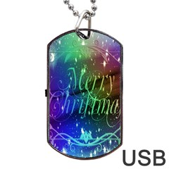 Christmas Greeting Card Frame Dog Tag Usb Flash (two Sides) by Onesevenart