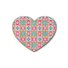 Christmas Holidays Seamless Pattern Heart Coaster (4 Pack)  by Onesevenart