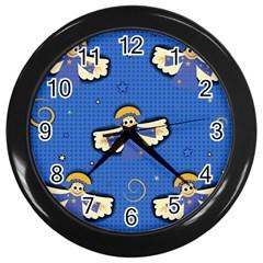 Christmas Holidays Seamless Pattern Wall Clocks (black) by Onesevenart
