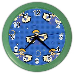 Christmas Holidays Seamless Pattern Color Wall Clocks by Onesevenart