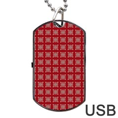 Christmas Paper Wrapping Paper Dog Tag Usb Flash (one Side) by Onesevenart