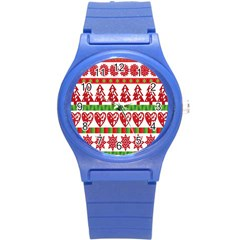 Christmas Icon Set Bands Star Fir Round Plastic Sport Watch (s) by Onesevenart