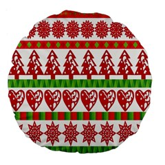 Christmas Icon Set Bands Star Fir Large 18  Premium Flano Round Cushions by Onesevenart