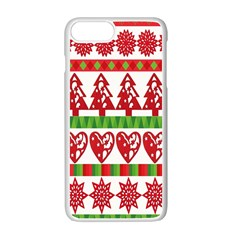 Christmas Icon Set Bands Star Fir Apple Iphone 7 Plus White Seamless Case by Onesevenart