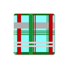 Christmas Plaid Backgrounds Plaid Square Magnet by Onesevenart
