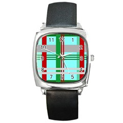 Christmas Plaid Backgrounds Plaid Square Metal Watch by Onesevenart
