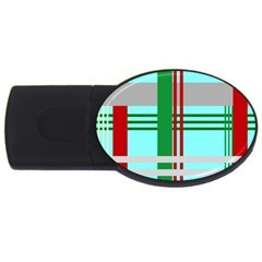 Christmas Plaid Backgrounds Plaid Usb Flash Drive Oval (4 Gb) by Onesevenart