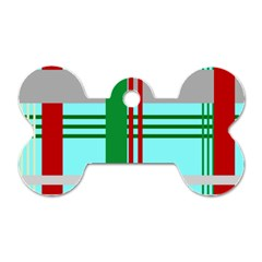 Christmas Plaid Backgrounds Plaid Dog Tag Bone (two Sides) by Onesevenart