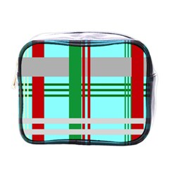 Christmas Plaid Backgrounds Plaid Mini Toiletries Bags by Onesevenart