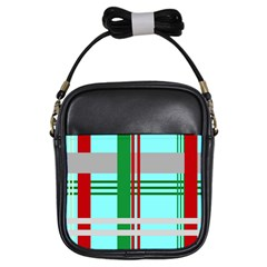 Christmas Plaid Backgrounds Plaid Girls Sling Bags by Onesevenart