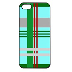 Christmas Plaid Backgrounds Plaid Apple Iphone 5 Seamless Case (black) by Onesevenart