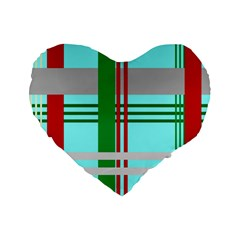 Christmas Plaid Backgrounds Plaid Standard 16  Premium Flano Heart Shape Cushions by Onesevenart