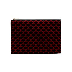 Scales3 Black Marble & Red Leather (r) Cosmetic Bag (medium)  by trendistuff