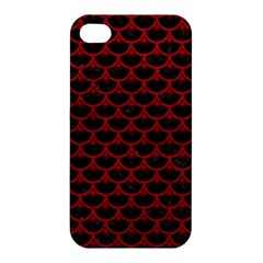 Scales3 Black Marble & Red Leather (r) Apple Iphone 4/4s Premium Hardshell Case by trendistuff