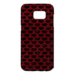 Scales3 Black Marble & Red Leather (r) Samsung Galaxy S7 Edge Hardshell Case by trendistuff