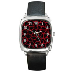 Skin1 Black Marble & Red Leather Square Metal Watch by trendistuff